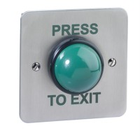 SPB004F(W) Weatherproof flush mount green dome exit button with finger guard